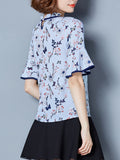 ByChicStyle Casual Band Collar Contrast Trim Floral Printed Bell Sleeve Blouse