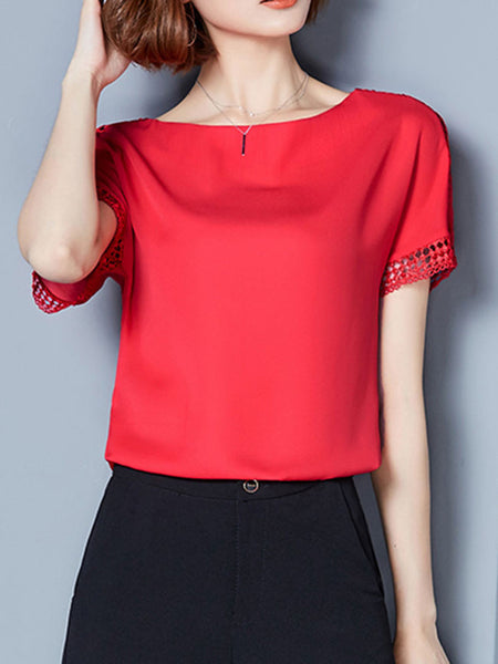 Round Neck Hollow Out Plain Chiffon Blouse - Bychicstyle.com