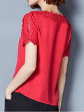 ByChicStyle Casual Round Neck Decorative Lace Plain Blouse