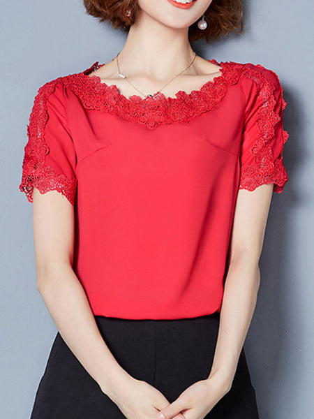 Casual Round Neck Decorative Lace Plain Blouse