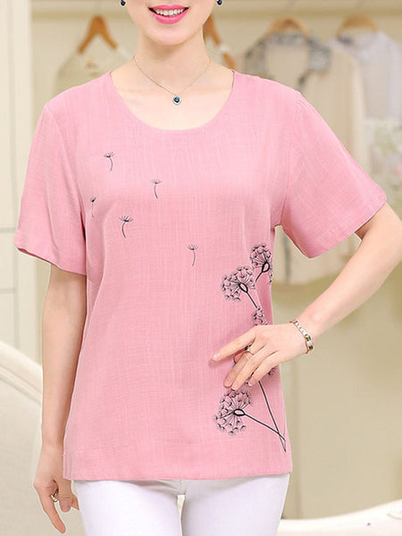 Casual Round Neck Dandelion Printed Short Sleeve T-Shirt