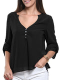ByChicStyle Loose Split Neck Plain Roll-Up Long Sleeve T-Shirt - Bychicstyle.com