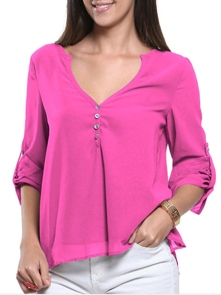 Loose Split Neck Plain Roll-Up Long Sleeve T-Shirt - Bychicstyle.com