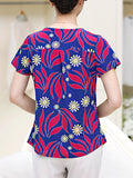 ByChicStyle Casual Round Neck Decorative Button Printed Short Sleeve T-Shirt