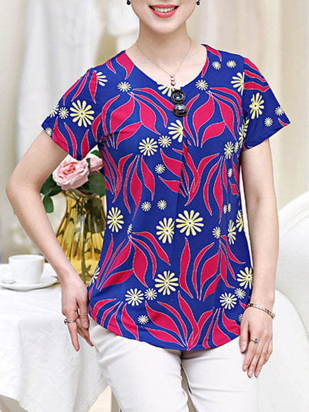 Casual Round Neck Decorative Button Printed Short Sleeve T-Shirt