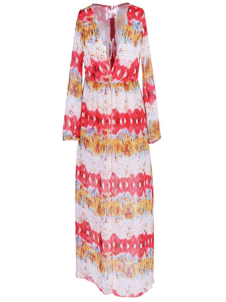 Casual Deep V-Neck High Slit Printed Chiffon Romper Maxi Dress