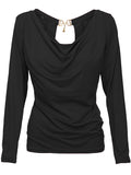 ByChicStyle Cowl Neck Decorative Hardware Plain Long Sleeve T-Shirt - Bychicstyle.com