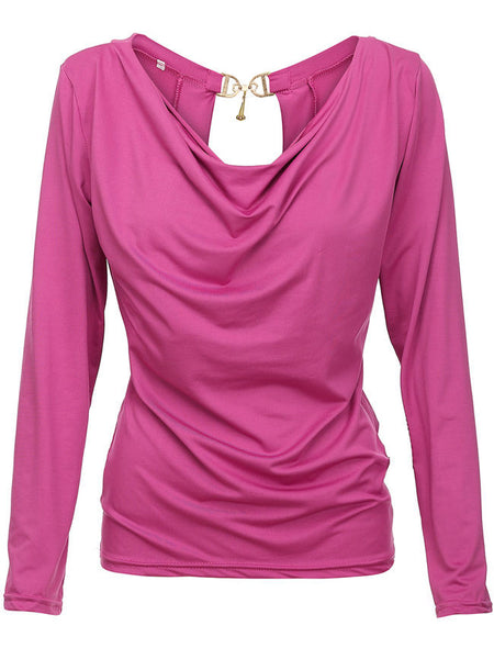 Cowl Neck Decorative Hardware Plain Long Sleeve T-Shirt - Bychicstyle.com