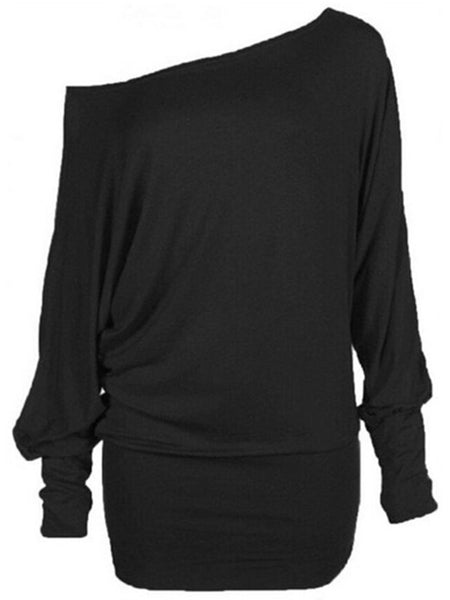 One Shoulder Plain Batwing Long Sleeve T-Shirt - Bychicstyle.com