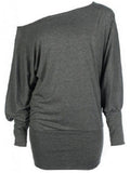 ByChicStyle One Shoulder Plain Batwing Long Sleeve T-Shirt - Bychicstyle.com