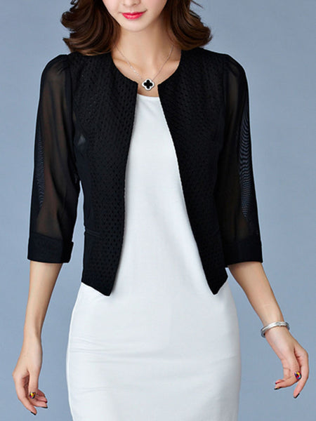 Collarless Patchwork Hollow Out Plain Cuffed Sleeve Blazer - Bychicstyle.com