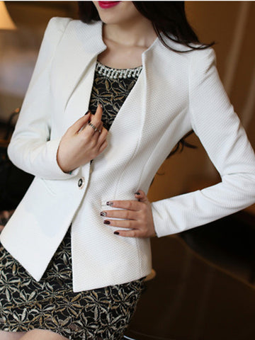Casual Asymmetric Neck Single Button Plain Blazer