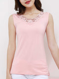 ByChicStyle Decorative Lace Plain Round Neck Sleeveless T-Shirt - Bychicstyle.com