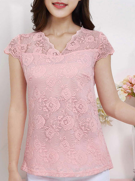 Delightful V-Neck Lace Hollow Out Plain Short Sleeve T-Shirt - Bychicstyle.com