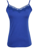 ByChicStyle Casual Basic Spaghetti Strap Decorative Lace Plain Sleeveless T-Shirt
