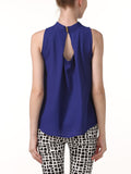 Casual Band Collar Back Hole Plain Chiffon Sleeveless T-Shirt
