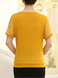 ByChicStyle Casual Embroidery Hollow Out Plain Short Sleeve T-Shirt