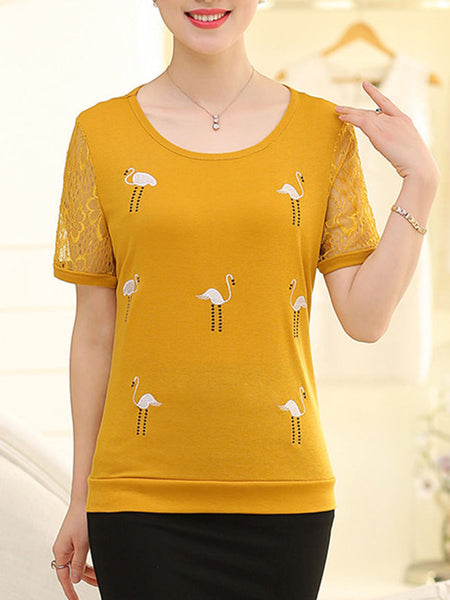 Casual Embroidery Hollow Out Plain Short Sleeve T-Shirt