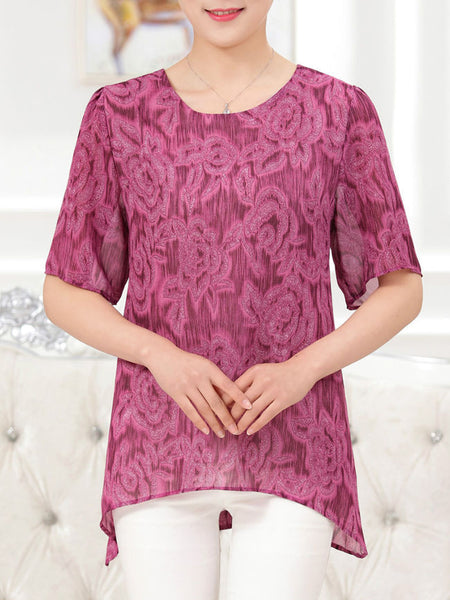 Casual Round Neck Asymmetric Hem Printed Short Sleeve T-Shirt