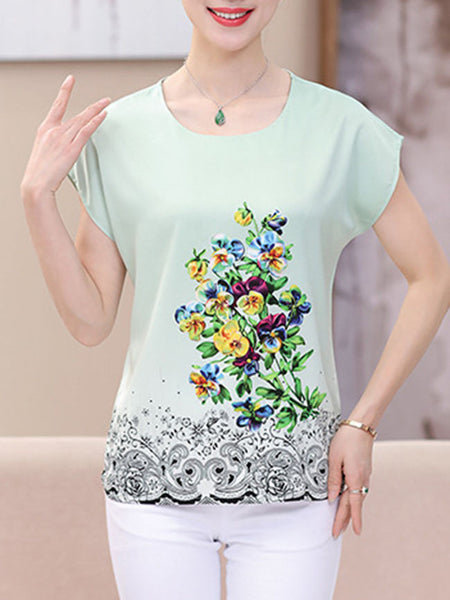 Round Neck Floral Printed Remarkable Short Sleeve T-Shirt - Bychicstyle.com