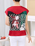 ByChicStyle Casual Round Neck Asymmetric Stripe Floral Dramatic Short Sleeve T-Shirt
