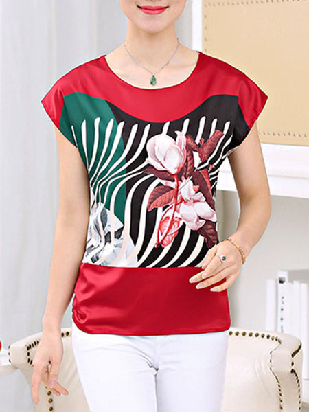 Casual Round Neck Asymmetric Stripe Floral Dramatic Short Sleeve T-Shirt
