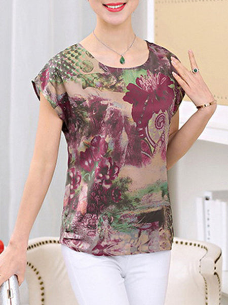 Casual Round Neck Abstract Print Graceful Short Sleeve T-Shirt