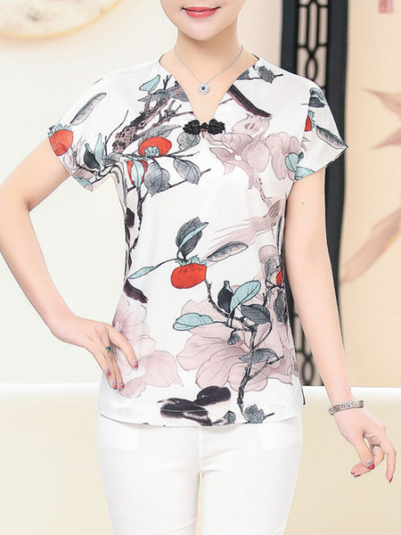 Casual V-Neck Graceful Printed Short Sleeve T-Shirt
