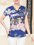 ByChicStyle Casual V-Neck Graceful Printed Short Sleeve T-Shirt