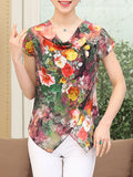ByChicStyle Cowl Neck Asymmetric Hem Floral Printed Short Sleeve T-Shirt - Bychicstyle.com