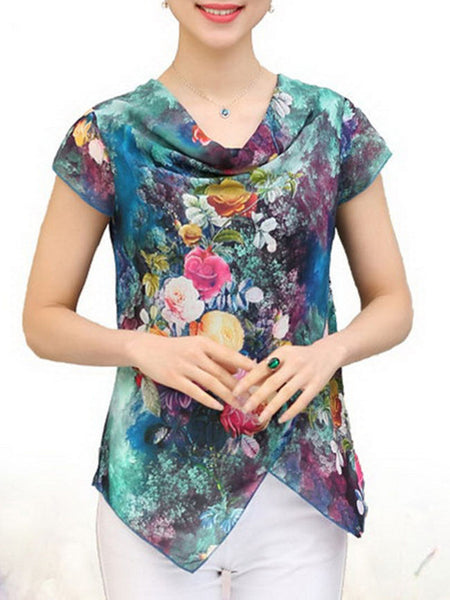 Cowl Neck Asymmetric Hem Floral Printed Short Sleeve T-Shirt - Bychicstyle.com