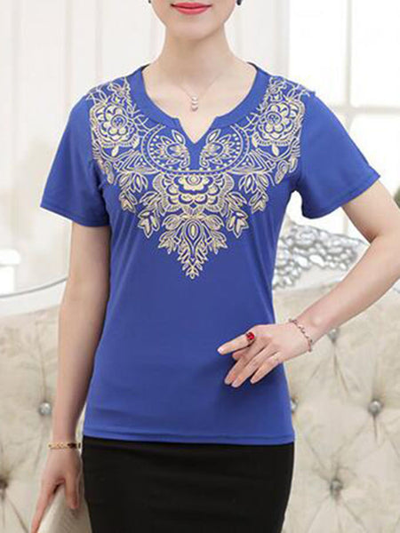 Casual Split Neck Printed Short Sleeve T-Shirt - Bychicstyle.com