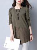 ByChicStyle Longline Round Neck Decorative Button Plain Long Sleeve T-Shirt - Bychicstyle.com
