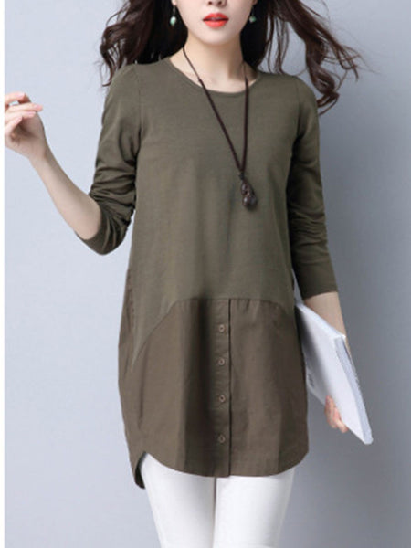 Longline Round Neck Decorative Button Plain Long Sleeve T-Shirt - Bychicstyle.com