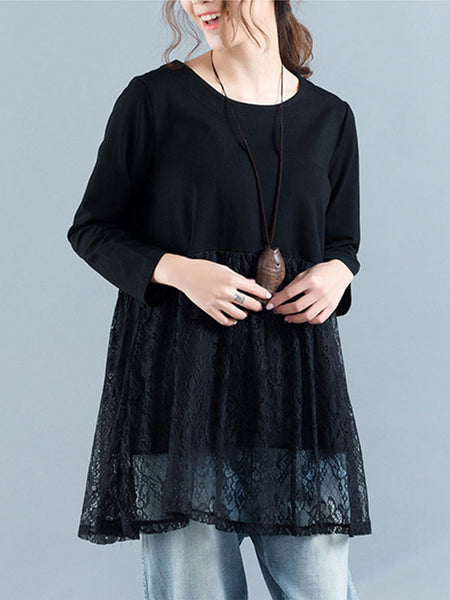 Loose Patchwork Hollow Out Plain Long Sleeve T-Shirt - Bychicstyle.com
