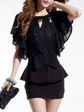 ByChicStyle Casual Round Neck Bowknot Cutout Cape Sleeve Mini Bodycon Dress