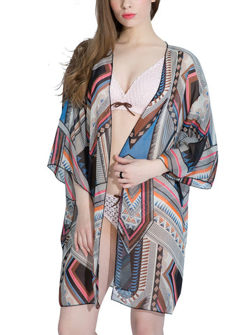 Casual Attractive Chiffon Hollow Out Printed Kimono