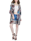 Streetstyle  Casual Attractive Chiffon Hollow Out Printed Kimono