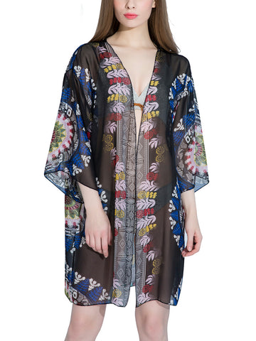 Captivating Hollow Out Printed Kimono - Bychicstyle.com