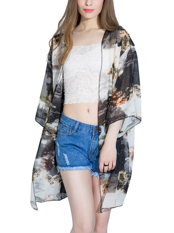Casual Abstract Print Hollow Out Chiffon Kimono