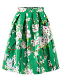 ByChicStyle Casual Elastic Waist Floral Printed Flared Midi Skirt