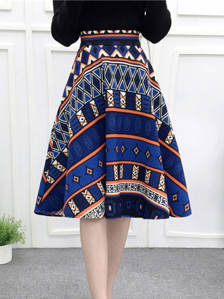 Fantastic Printed Flared Midi Skirt - Bychicstyle.com