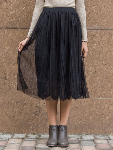 Casual Elastic Waist Double Layer Pleated Midi Skirt