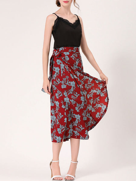 Fabulous Floral Printed Flared Maxi Skirt - Bychicstyle.com