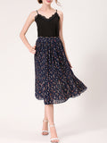 ByChicStyle Casual Elastic Waist Printed Fascinating Pleated Midi Skirt