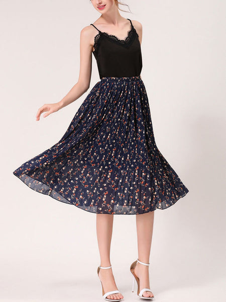 Casual Elastic Waist Printed Fascinating Pleated Midi Skirt