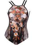 ByChicStyle Casual X-Back Spaghetti Strap Leopard Floral Printed One Piece