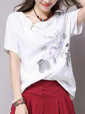 ByChicStyle Casual Asymmetric Neck Floral Printed Short Sleeve T-Shirt