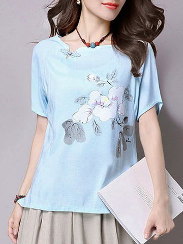Casual Asymmetric Neck Floral Printed Short Sleeve T-Shirt