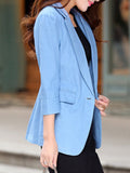 ByChicStyle Notch Lapel Decorative Lace Single Button Plain Blazer - Bychicstyle.com